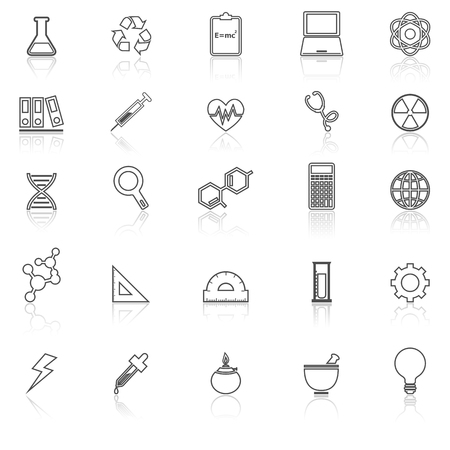 neutrons: Science line icons with reflect on white background, stock vector Illustration