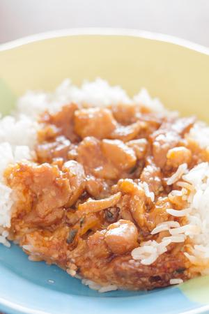 stirred: Stirred pork with sauce top on rice, stock photo Stock Photo