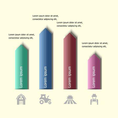onward: Infographic arrow badge design template, stock vector Illustration
