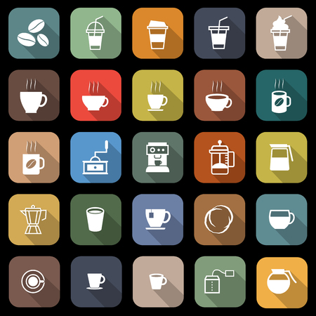 Coffee flat icons with long shadow, stock vector Çizim