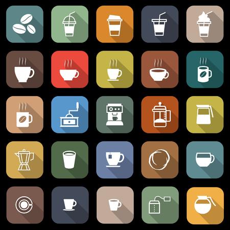 Koffie vlakke pictogrammen met lange schaduw, voorraadvector Stock Illustratie