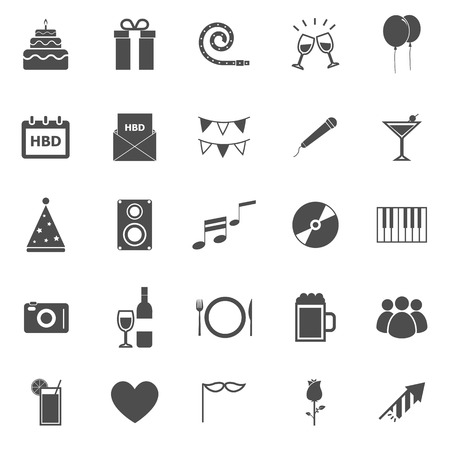 Birthday icons on white backgound, stock vector