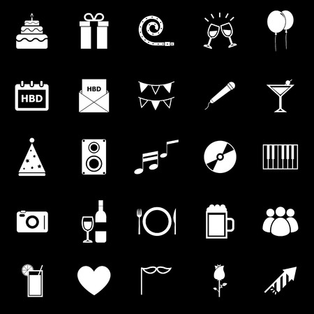 backgound: Birthday icons on black backgound, stock vector Illustration