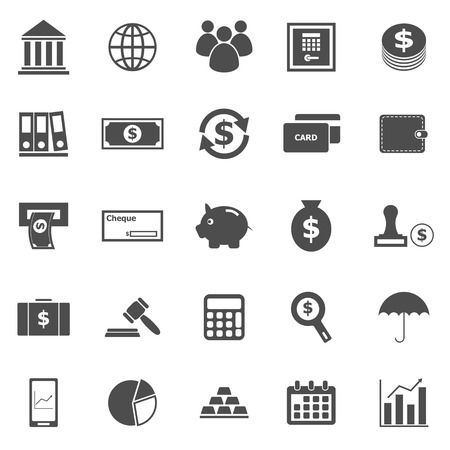 Banking icons on white background, stock vector Иллюстрация