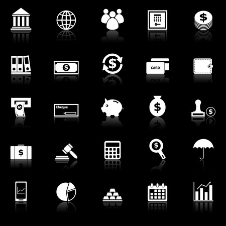 reflect: Banking icons with reflect on black background, stock vector