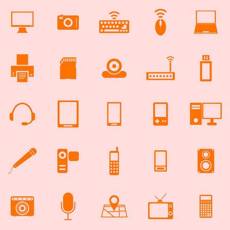 mouse pad: Gadget color icons on orange background, stock vector
