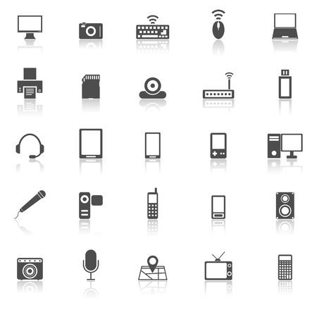 reflect: Gadget icons with reflect on white background, stock vector