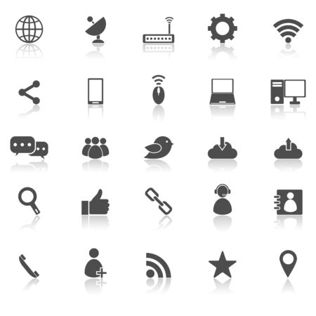 reflect: Network icons with reflect on white background, stock vector