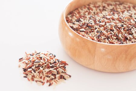 multi grain: Organic Dry Multi Grain Rice in wooden bowl, stock photo