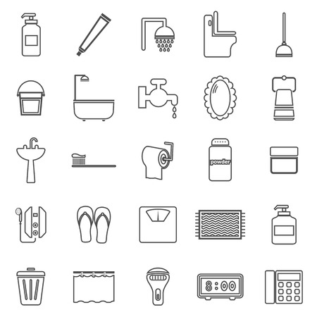 Bathroom line icons on white background Ilustração