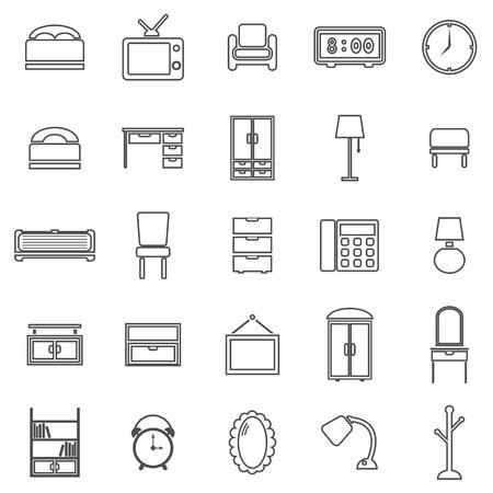 Bedroom line icons on white background Illustration