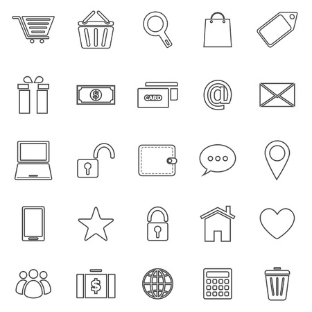 e commerce: E commerce line icons on white background Illustration
