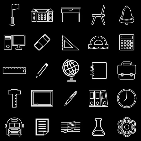 writing chair: School line icons on black background, stock vector Illustration