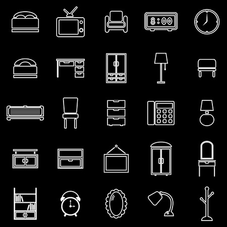 Bedroom line icons on black background, stock vector