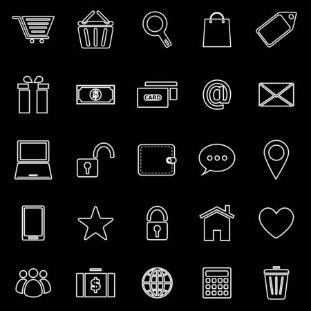 Ecommerce line icons on black background, stock vector