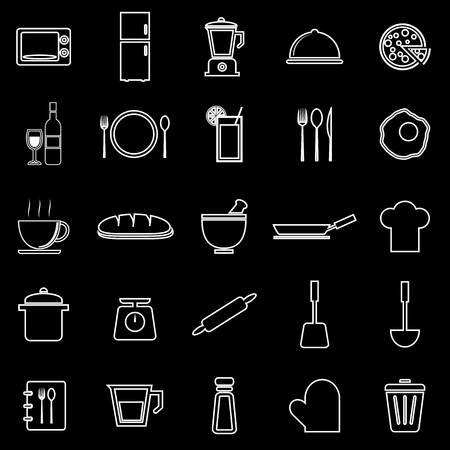 continental food: Kitchen line icons on black background, stock vector