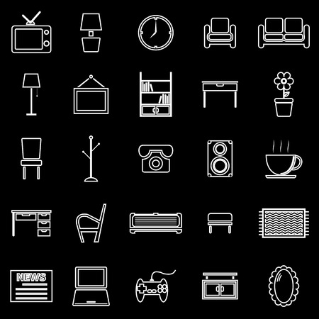 footstool: Living room line icons on black background, stock vector