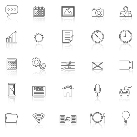 reflect: Application line icons with reflect on white, stock vector Illustration