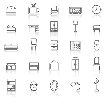 Bedroom line icons with reflect on white, stock vector
