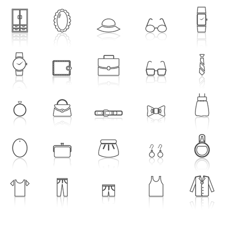 Dressing line icons with reflect on white, stock vector