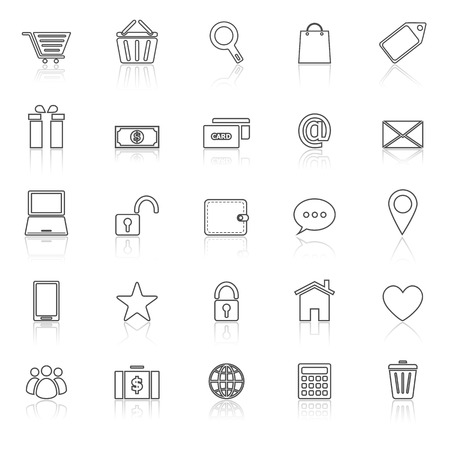 reflect: Ecommerce line icons with reflect on white, stock vector Illustration