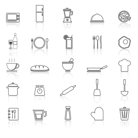 continental food: Kitchen line icons with reflect on white, stock vector Illustration