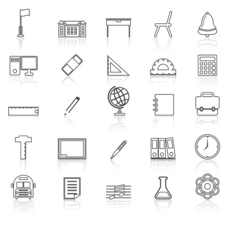 reflect: School line icons with reflect on white, stock vector