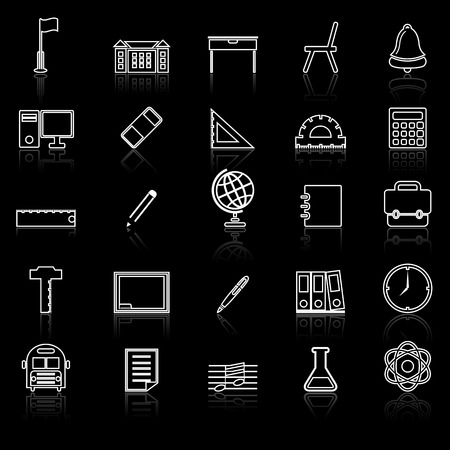 reflect: School line icons with reflect on black, stock vector