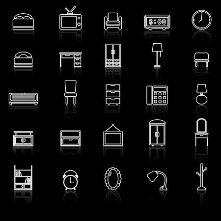 Bedroom line icons with reflect on black , stock vector Illustration
