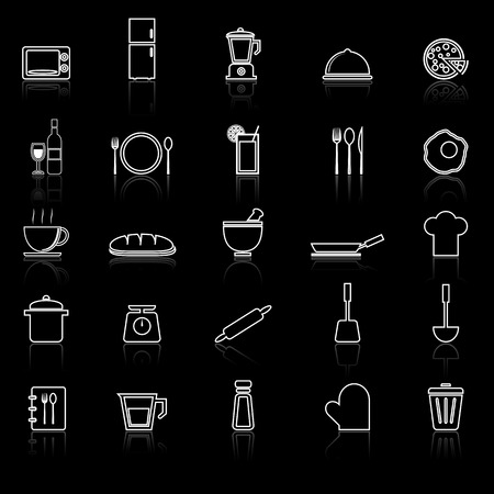 continental food: Kitchen line icons with reflect on black, stock vector