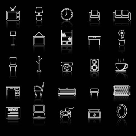 Living room line icons with reflect on black, stock vector