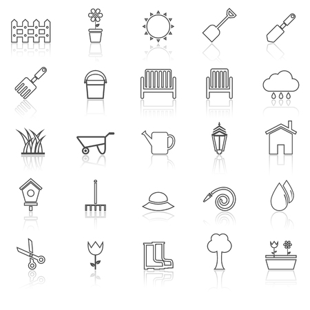 watering hose: Gardening line icons with reflcet on white, stock vector