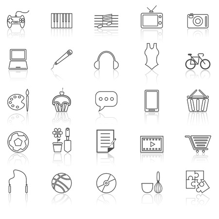 reflect: Hobby line icons with reflect on white, stock vector