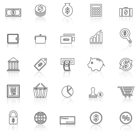 reflect: Money line icons with reflect on white, stock vector