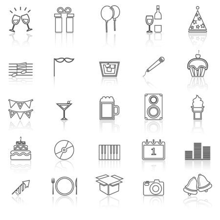 reflect: New Year line icons with reflect on white, stock vector Illustration