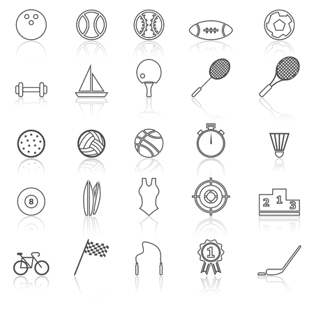 reflect: Sport line icons with reflect on white, stock vector Illustration
