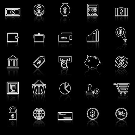 reflect: Money line icons with reflect on black Illustration