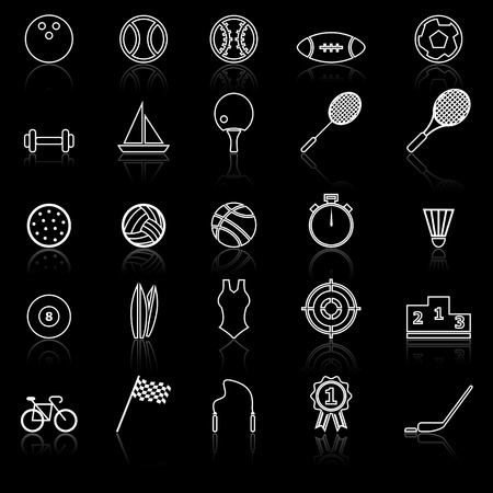 reflect: Sport line icons with reflect on black