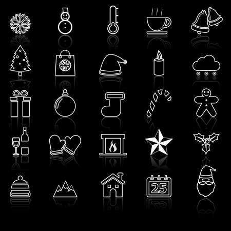 reflect: Winter line icons with reflect on black
