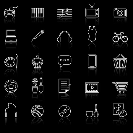 reflect: Hobby line icons with reflect on black Illustration