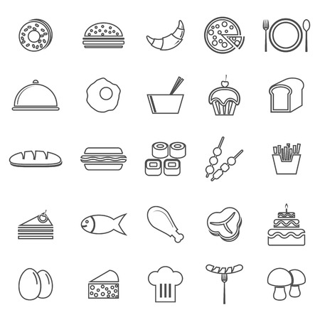 Food line icons on white background, stock vector