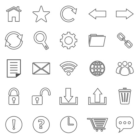 bar line: Tool bar line icons on white background, stock vector
