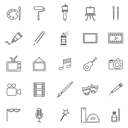Art line icons on white background, stock vector Ilustração