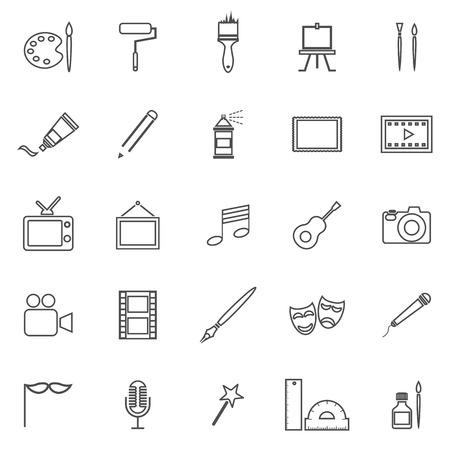 Art line icons on white background, stock vector Illustration
