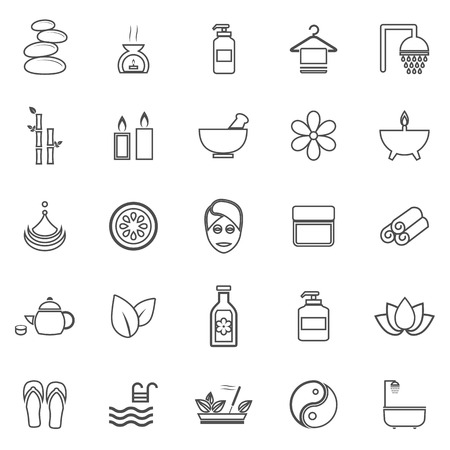 papering: Spa line icons on white background, stock vector