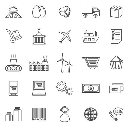 labor market: Supply chain line icons on white background Illustration
