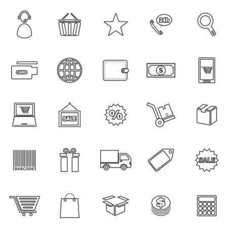 package printing: E-commerce line icons on white background