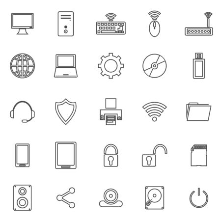 lcd panel: Computer line icons on white background Illustration