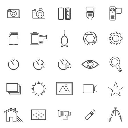 polarizing: Camera line icons on white background Illustration