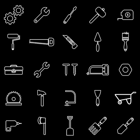 nipper: Tool line icons on black background Illustration